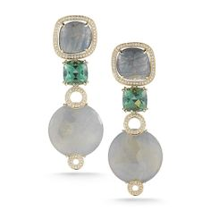 Make a bold statement with this green sapphire and green amethyst drop earring set in 14K yellow gold.