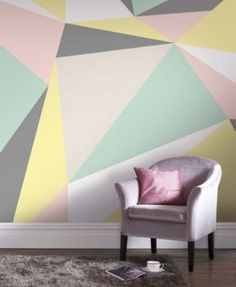 A pastel geometric wall mural makes a serious statement. Creative Wall Painting, Diy Wall Painting, Creative Walls, Painted Wall Murals, Pastel Bedroom, Pastel Walls, Geometric Wall Paint, Geometric Wallpaper, Brown Wallpaper