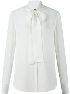Jigsaw Silk Tie Neck Blouse, Ivory
