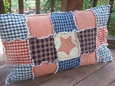 primitive rag quilts | Frontier Primitive Country Rag Quilt Pillow Sham w/Applique - Handmade ...