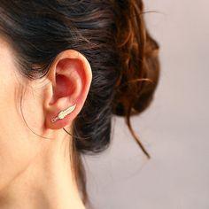 Gold Leaves earrings Ear pin Ear Climber Gold by sigalitaJD