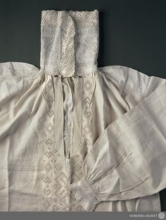 Detail of groom's shirt from Ingelstorp, Scania, southern Sweden. Fromt he Nordiska Museet.