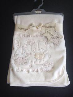 Baby Fleece Blanket White Luxury Embroidered  Rabbit & Bear  Unisex 90x75cm
