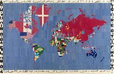 Find the latest shows, biography, and artworks for sale by Alighiero Boetti. Conceptual artist Alighiero e Boetti was associated with the Arte Povera movemen… Modern Art, Contemporary Art, World Map Art, Textiles, Canvas Prints, Art Prints, Textile Artists, Art Fair, Figure Painting