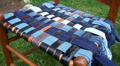 recycled leather and denim chair