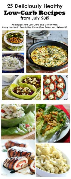 Here's my monthly Round-Up of Deliciously Healthy Low-Carb Recipes that I posted on KalynsKitchen.com or found on other great blogs during July 2015. #LowCarb #GlutenFree #Paleo #SouthBeachDiet