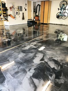 Two color grey metallic epoxy floor with urethane clear coat. Concrete was first honed with diamonds and then waterproofed with Creto DPS. Concrete Sealant, Concrete Floors, Cement, Solar Panel System, Solar Panels, Industrial Power Tools, Garage Epoxy, Metallic Epoxy Floor, Solar Collector