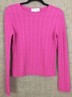 IRRESISTABLES 100% Cashmere Crewneck Cable Sweater, Pink, Woman's Size M #Irresistables #Crewneck