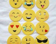 Fondant emoji cupcake toppers