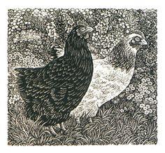"""Sue Scullard - """"Chickens in the garden"""" - Wood engraving"""