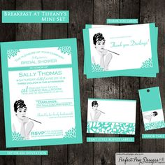 Breakfast at Tiffany's inspired Bridal Shower Mini Set - Tiffany Blue and White - Customize for Birthday, Retirement