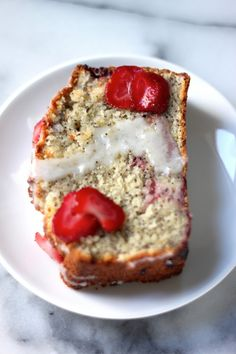 Strawberry Poppy Seed Cake - a moist strawberry poppy-seed cake topped with a luscious lemon glaze