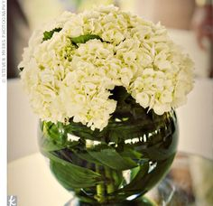 Simple yet elegant centerpieces played up the garden theme at Wendy and Brian's reception. Urns of ivory and green hydrangeas stood at the center of each table.
