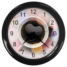 Cup Of Coffee Plastic Black Frame Battery Operated Novelty Kitchen Wall Clock #CustomMade #Novelty