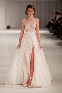 2015 Sexy Prom/Wedding Dresses With High Slit A-Line Scoop Ivory Sweep/Brush Train Chiffon With Embroidery & Beading US$ 189.99 SPPGG1MHTL - StunningPromDresses.com