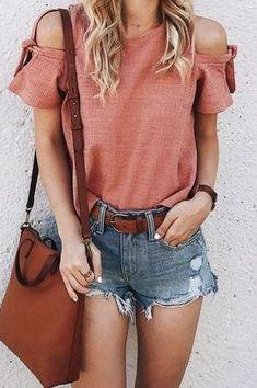 #Summer #Outfits / denim short shorts + salmon top