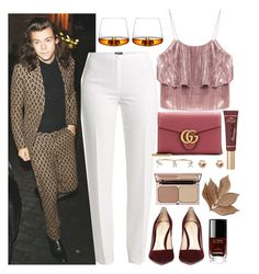 """""""Drinks with Harry"""" by phenomeniall-style ❤ liked on Polyvore featuring Basler, Gucci, Delfina Delettrez, Too Faced Cosmetics, Chanel, Normann Copenhagen, Charlotte Tilbury, Bliss Studio and harrystyles"""