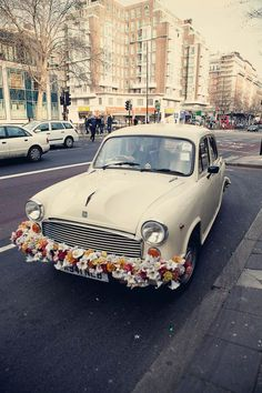 Vintage Indian Ambassador car/taxi - fab wedding day transport idea!
