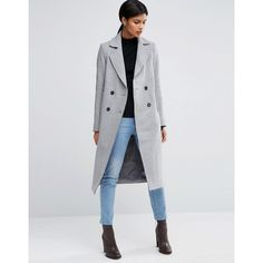 ASOS Wool Blend Coat with Raw Edges and Pocket Detail ($128) ❤ liked on Polyvore featuring outerwear, coats, grey, pocket coat, fur-lined coats, asos coats, grey coat and asos