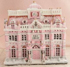 Up for Sale Shabby Pink Chic Christmas City Public Library Village Lemax French Country Pink Christmas Tree, Christmas Town, Shabby Chic Christmas, Victorian Christmas, Rustic Christmas, Vintage Christmas, Christmas Ideas, Christmas Decorations, Christmas Village Houses