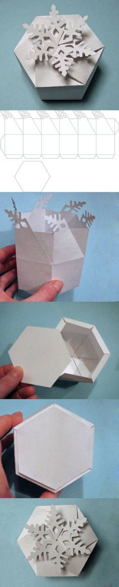 DIY Snowflake Gift Box diy craft crafts christmas how to tutorial winter crafts christmas crafts christmas decorations christmas craft Diy Gift Box, Diy Gifts, Gift Boxes, Craft Tutorials, Craft Projects, Free Tutorials, Diy Paper, Paper Crafts, Origami