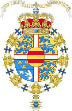 File:Coat of Arms of Margrethe II of Denmark (Order of the Seraphim). Queen Margrethe Ii, Cosmic Art, Crests, Wikimedia Commons, Coat Of Arms, Animal Kingdom, Badge, Folk, History