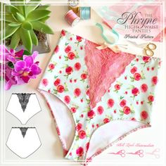 PRINTED Lingerie Sewing Pattern - Phryne High Waist Panties - from EVIE la LUVE