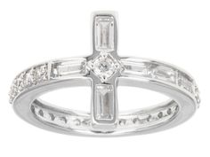 Remy Rotenier For Bella Luce (R) 1.94ctw Baguette & Round Rhodium Plated Sterling Silver Cross Ring