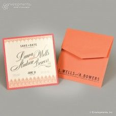 Coral wedding invitation - Quill Wedding Save the Date - $25.00 www.soireepaper.co #wedding #weddinginvitation #invitation #savethedate #soireepaperco