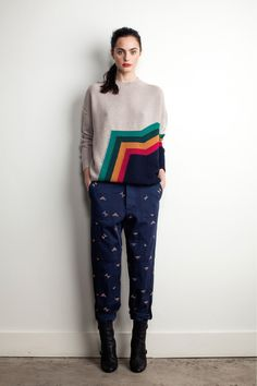 Small scaled printed pants. They've been doing these on men's pants forever, and I hope the trend finally crosses over to women's. Look 13 Band of Outsiders Pre-Fall 2013
