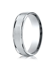 18k White Gold 6mm Comfort-Fit Satin Finish High Polished Round Edge Carved Design Band
