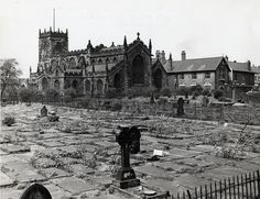 Eccles Parish Church, Manchester, England before the grave stones were removed. As a child, walking through here (as we took a short cut to Aunty 's in the days before we had a car) scared me… History Manchester, Manchester England, Bridgewater Canal, Salford, Working Class, Slums, Derbyshire, Photo Reference, British History