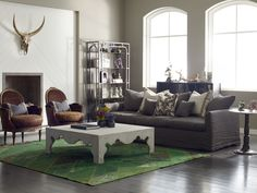 Four Hands Living Room Serena Coffee Table-Dstressed Wht Burlap CIRD-G3L7-L7 - The Village Shoppe - Yakima, WA