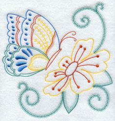 A butterfly and flower machine embroidery design.