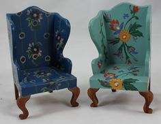 PR Tynietoy Wood Painted Wing Chairs Wooden Vintage Floral Dollhouse Miniature | eBay
