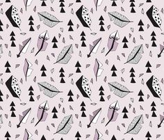 Cool geometric feathers and arrows abstract triangle hand drawn illustration scandinavian style in lavender violet black and white - fabric and wallpaper design by Little Smilemakers Studio at Spoonflower. Home decoration and handmade fashion inspiration.
