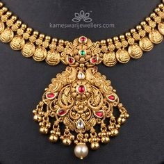 Gold Temple Jewellery, Real Gold Jewelry, Gold Jewelry Simple, Gold Jewellery Design, Beaded Jewelry, Handmade Jewellery, Bridal Jewelry, Indian Jewelry, Simple Necklace