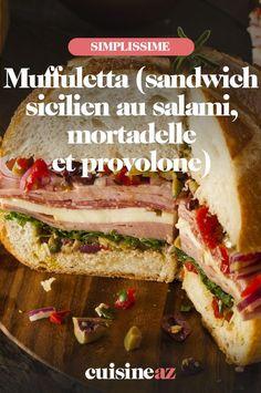 Une recette de sandwich sicilien au salami, mortadelle et provolone: le muffuletta. Ce sandwich vous transportera en vacances. #recette#cuisine #sandwich #muffuletta #charcuterie Muffuletta Sandwich, Charcuterie, Sandwiches, Food, Vacation, Essen, Meals, Paninis, Yemek