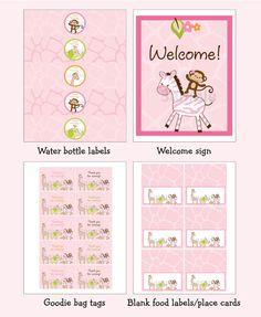 Pink Safari Jungle Animal Birthday Party by LittlePrintsParties
