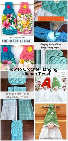 Knitted Kitchen Towel Lavender White Kitchen Towel Housewarming Knit Set, Cotton Dish Towel Pansy Kitchen Hanging Towel