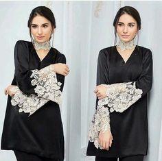 Plain black salwar suit with lace patchwork sleeves. Pakistani Dresses Casual, Pakistani Dress Design, Indian Dresses, Pakistani Fashion Casual, Stylish Dresses, Women's Fashion Dresses, Casual Dresses, Kurta Designs, Blouse Designs