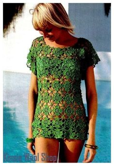"Vintage 70's Pattern Crochet Bikini ""COVER-UP"" Top - PDF Pattern Summer - Instant Download"