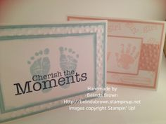 Baby cards made by Belinda Brown using Stampin up's baby prints stamps