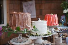multiple wedding cakes - Rustic backyard wedding