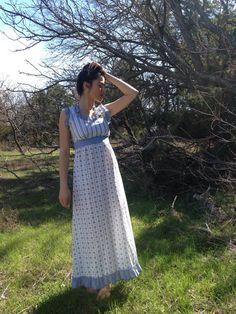 XS Small 1960s Plaid Stripe Maxi Halter Dress by TheAtticVintageCo