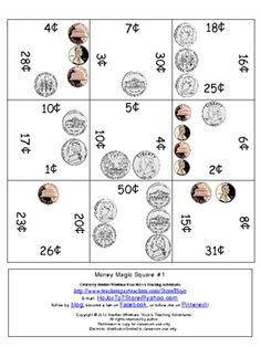 These six puzzles will have your students practicing coin recognition and counting skills. {Amounts 1-50 centers - plus some others - included!} $