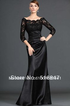 2014 Stock New Long Black Lace/Satin Half Sleeve Beading Wedding Bridal Gown/Evening Dresses SZ :6-16 Free Shipping $89.00