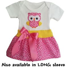 Your baby girl will look so cute in this pink polka dot onesie baby dress. An adorable owl is added for extra cuteness! 3 snap closer hides her diaper.