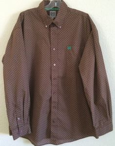 Cinch Men's Shirt Size Large - Brown with White/Green Geometric Designs #Cinch #ButtonFront