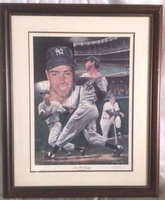 Joe Dimaggio Limited Edition Lithograph SIGNED By Angelo Marino 1994- COA  #JoeDiMagigo #Baseball #NewYork